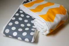 Baby Burp Cloths Chevron Yellow and Grey  Set of 2 by KallieLilyS, $11.00