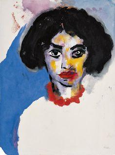 Emil Nolde. Retrospektive: Emil Nolde (1867-1956); Frau T. mit roter Kette, 1930; Aquarell auf Japanpapier, 47,9 x 35,5 cm; © Nolde Stiftung...