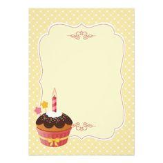 Birthday Candle Cupcake Blank 5x7 Paper Invitation Card