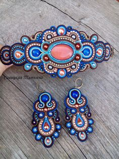 Blue Terracotta Soutache Set - Blue Terracotta Soutache Bracelet - Soutache Earrings - Unique Hand E Soutache Bracelet, Soutache Jewelry, Bead Jewellery, Beaded Jewelry, Beaded Necklace, Heart Jewelry, Boho Jewelry, Jewelry Art, Birthstone Charms