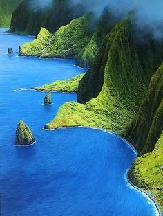 Molokai, Mist Over the Mountains, Hawaii.