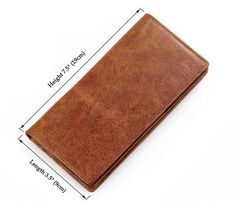100% Genuine Leather Mens Long Wallet Brown Color