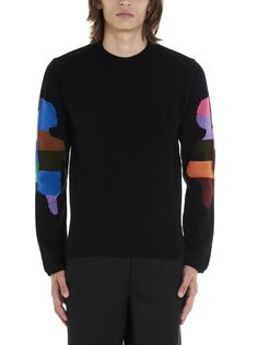 Comme Des GarÇons Shirt Colour Block Intarsia Pullover In Black Sweat Shirt, Comme Des Garçons Shirt, Comme Des Garcons, Black Wool, Black Sweaters, Color Blocking, Wool Blend, Colorful Shirts, Pullover