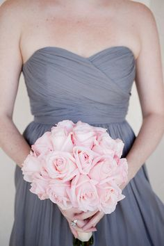 grey chiffon dress with pink florals. love.