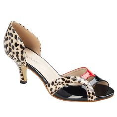 Spot Print Shoes - Stylish, perfect party wear patent peeptoe shoes with animal print.  #Footwear #Occasions #Spring13