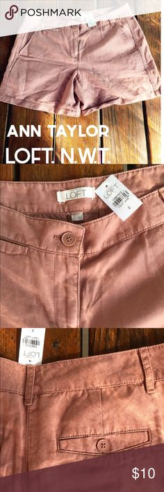 "ANN TAYLOR LOFT Classic Chino Shorts Dusty Salmon These classic ANN TAYLOR LOFT chino style shorts are a ""muted dusty soft salmon"" shade which can transition seasons well.  New with tags.  Comfy relaxed fit, 6"" inseam - legs can be rolled up to change up the look!  2 back button-closure pockets.  2 extra spare buttons attached inside the shorts.  54% linen, 46% cotton. Ann Taylor Shorts"