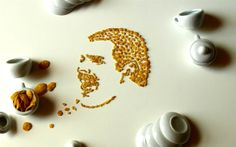 Freddie Mercury, lead vocalist of the rock band Queen, sings in this Corn Flake portrait.