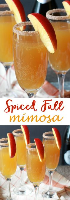 A brunch is not complete without mimosas! This drink combines fresh pressed juice with my favorite bubbly to create a crisp, refreshing Fall Spiced Mimosa.