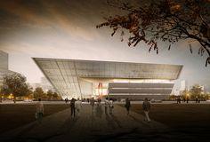 gmp é selecionado para projetar nova biblioteca de Suzhou,Entrada da biblioteca. Imagem © Willmore CG