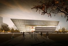 gmp Selected to Design New Library in Suzhou,Entrance of library. Image © Willmore CG