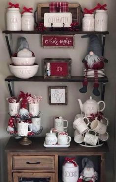 Well hello Rae Dunn Christmas display goals 😍😍😍 If only I could find more Rae Christmas goodies like these 🤤🎄 and all of the little gnomes are killin me 😍 📷: . Decoration Christmas, Farmhouse Christmas Decor, Christmas Kitchen, Noel Christmas, Christmas Goodies, Country Christmas, Xmas Decorations, White Christmas, Christmas Crafts