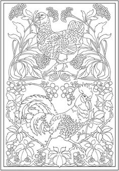 Coloring - Hen and cock