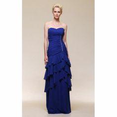 Sheath/ Column Sweetheart Floor-length Tiered Chiffon Evening Dress