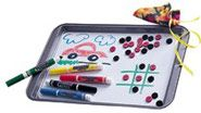 travel games :)  It's a cookie sheet with contact paper on it.  Put magnetic strips on markers, buttons, and whatever else you want your kid to stick on there!!  Brilliant!