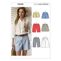 Buy Vogue Women's Shorts Sewing Pattern, 9008 Online at johnlewis.com