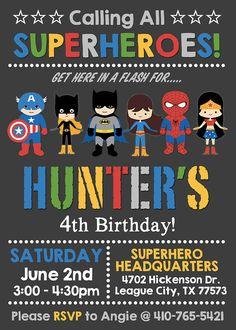 Mixed boy & girl superhero / supergirl birthday by NiteLiteDesign