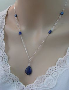 Lapis Lazuli and Moonstone Necklace in 925 Sterling Silver – Lindas Jewelry Shop