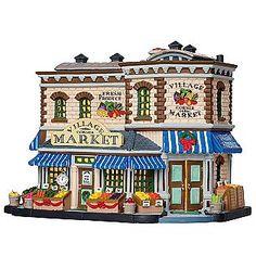 Lemax Village Collection  Christmas Village Building, Porcelain Lighted House, Village Corner Market With 6-Foot Cord