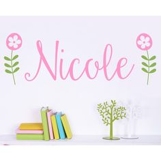 "Alphabet Garden Designs Retro Flower Personalized Wall Decal Size: 13"" H x 40"" W, Color of Name: Cranberry"