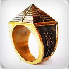 Brass Pyramid ring All Size Style Heavy Biker Harley Rocker Men's Jewelry