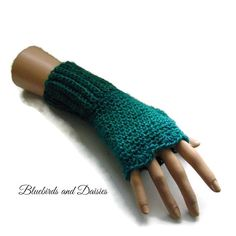 Ladies Seagreen Fingerless Gloves by Bluebirdsanddaisies on Etsy