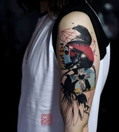 Interesting looking sleeve tattoo in abstract theme. The simplicity of the design helps make the abstract theme more apparent in the tattoo. The transitions between the images are also well placed.