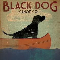 Black Dog Canoe Company Original Illustration 12x12 Canvas Wall Art Labrador Retriever Black Lab - Lodge/camping themed room?