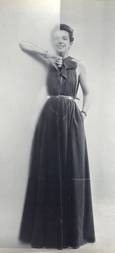 """Claire McCardell wearing her """"Future Dress"""", ph. by Irving Penn"""