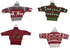 Hand Knit Christmas Sweaters Ornaments Set of 12 -