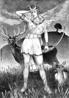 Diana, or Artemis, Goddess of the hunt, the moon, childbirth and feminine power.