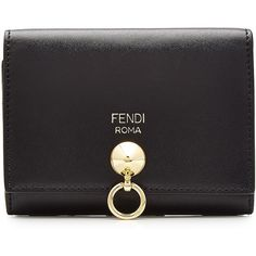 Fendi Leather Coin Wallet ($260) ❤ liked on Polyvore featuring bags, wallets, black, leather bags, fendi bags, coin wallet, real leather wallets and 100 leather wallet