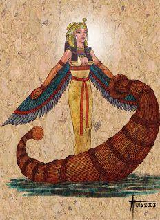 Mitologia Grega: Deuses(Egipcios) Ísis (Auset em egípcio), é uma deusa da mitologia egípcia. Segundo a lenda, Ísis ajudou a procurar o corpo de Osíris, que tinha sido despedaçado pelo irmão, Seth. Ísis, a deusa do amor e da mágica, tornou-se a deusa-mãe do Egito.