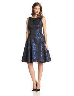 Sleeveless Metallic Beaded Fit-and-Flare Dress by Maggy London