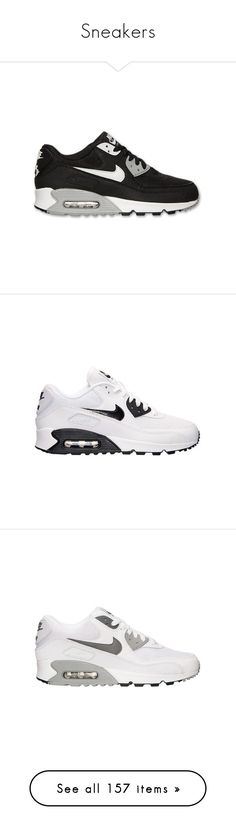 """""""Sneakers"""" by blvck-fashion ❤ liked on Polyvore featuring shoes, sneakers, nike, tenis, trainers, grey, grey leather shoes, lace up shoes, gray shoes and grey sneakers"""