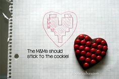 how to make pixelated Valentines heart cookies by dennasideas.com