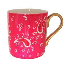 Tazza grande / mug in finissima porcellana bianca (bone china) per caffè o tè, dipinte a mano in disegno originale 'principessa rosa'. Lussuoso cofanetto regalo per il compleanno o le madri giorno