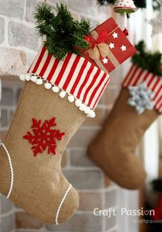 DIY Ideas for Decorating Burlap & Linen Stockings