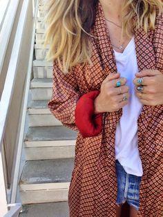 Kimono With White Shirt And Shorts