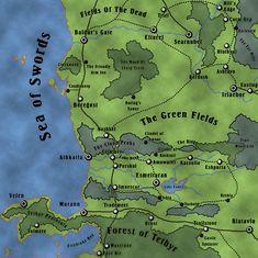 Map of Baldur's Gate / Southern Sword Coast, Faerun Faerûn