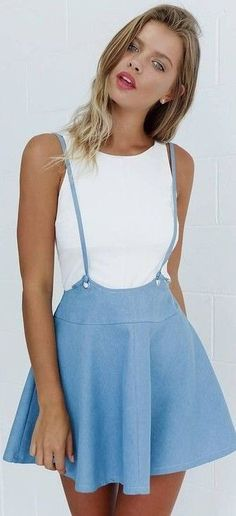 #Summer #Outfits / Halter White Top - Overall Skirt