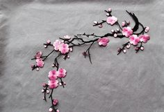 Pink Cherry Blossom applique - iron on or sew on. by TheIrishKnittingRoom on Etsy Leather Fabric, Cherry Blossom, Hand Sewing, All Things, Cool Stuff, Stuff To Buy, Patches, Iron, Tote Bag
