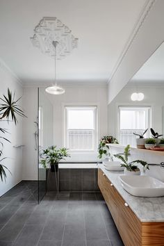 Hoddle House by Freadman White: Elsternwick, VIC From the Architect: The existing dwelling was a single-storey brick home with a rear… Bathroom Floor Tiles, Bathroom Renos, Laundry In Bathroom, Small Bathroom, Family Bathroom, Black Bathroom Floor, Gray Floor, Bathroom Ideas, Modern Bathroom Design