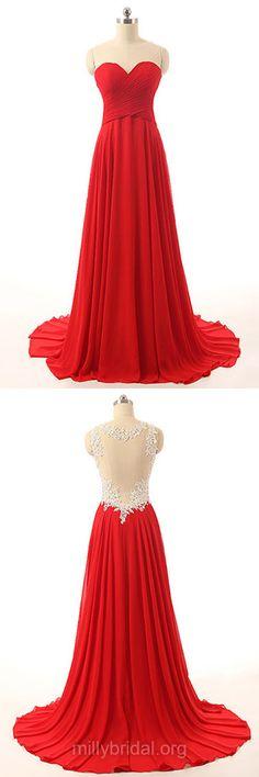 Modest Red Prom Dresses, Long Prom Dresses, Scoop Neck Chiffon Formal Dresses, Court Train Appliques Lace Evening Party Dresses