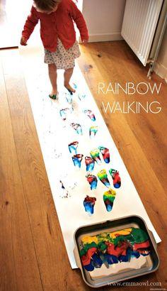 Rainbow Walking. A fun rainbow inspired art activity
