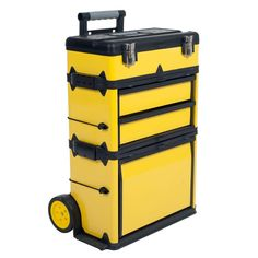 Stalwart 22.5 in. Rolling Stacking Portable Metal Trolley Tool Box, Yellow And Black