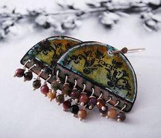 VENICE  enameled silver and copper earrings  by OYRZANOWSKA