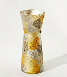 Silver Gold Whirlpools Hand painted glass vase by NevenaArtGlass, $59.00