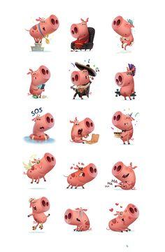 https://www.behance.net/gallery/43784777/Piggy-Pink-for-StickerPlace