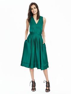 V-Neck Satin Midi Dress Product Image