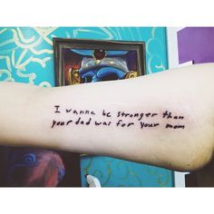 """From """"Santa Monica"""" by The Front Bottoms, in Brian Sella's handwriting. Inked by Fredd Cheetham at 1001 Troubles Tattoo in..."""